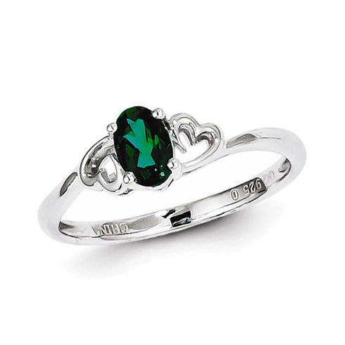 Sterling Silver .40 ct Created Emerald Ring with Heart Accents