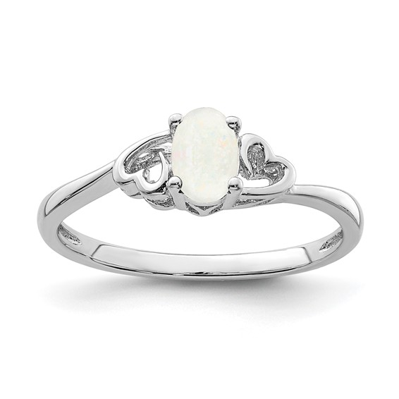 Sterling Silver Created Opal Ring with Heart Accents