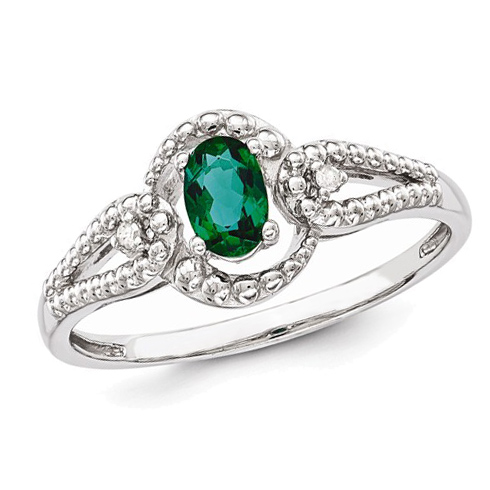 Sterling Silver .40 ct Created Emerald Ring with Beaded Finish