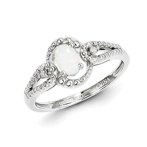 Sterling Silver Created Opal Ring with Beaded Finish