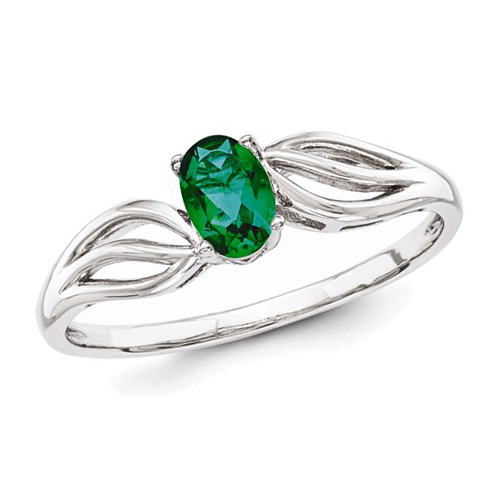 Sterling Silver 2/5 ct Created Emerald Ring with Cut Out Shank