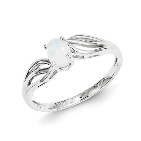 Sterling Silver Created Opal Ring with Cut Out Shank