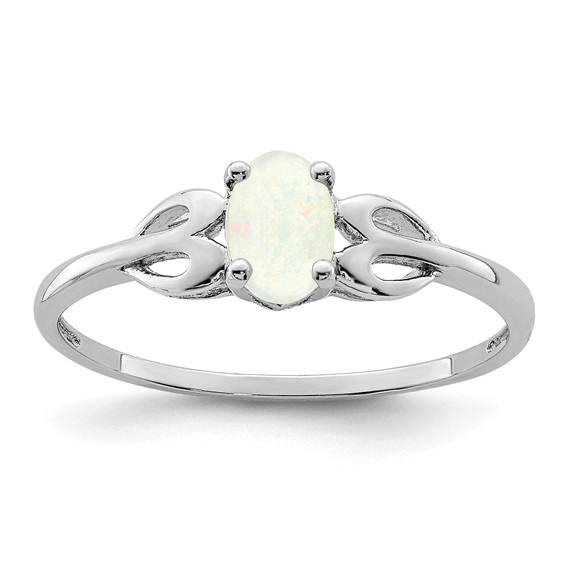 Sterling Silver Created Opal Ring with Hearts