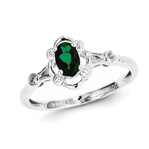 Sterling Silver Fancy .40 ct Created Emerald Ring with Diamonds