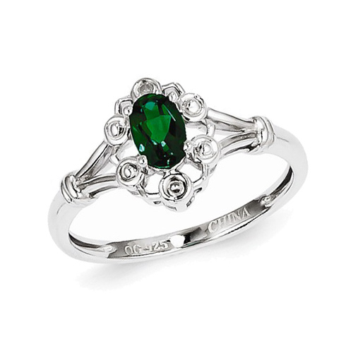 Sterling Silver Ornate Created Emerald Ring with Diamond Accents