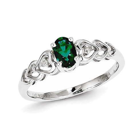 Sterling Silver Created Emerald Ring with Hearts and Diamond Accents
