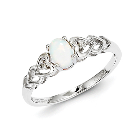 Sterling Silver Created Opal Ring with Hearts and Diamond Accents