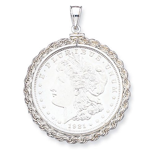 Sterling Silver Morgan Dollar Coin Rope Bezel Pendant