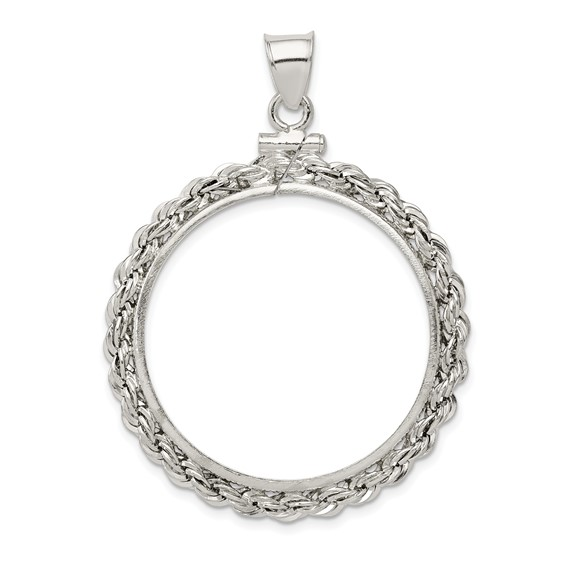 Sterling Silver Half Dollar Coin Rope Bezel Pendant