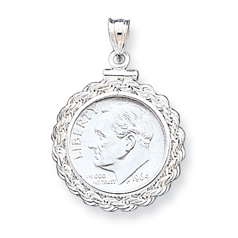 Sterling Silver 18 x 1.2mm $0.10 Rope Coin Bezel Pendant