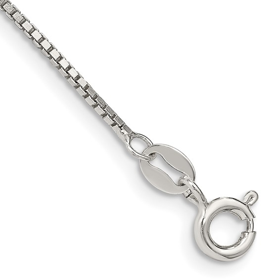 Sterling Silver 7in Box Chain 1.10mm Bracelet