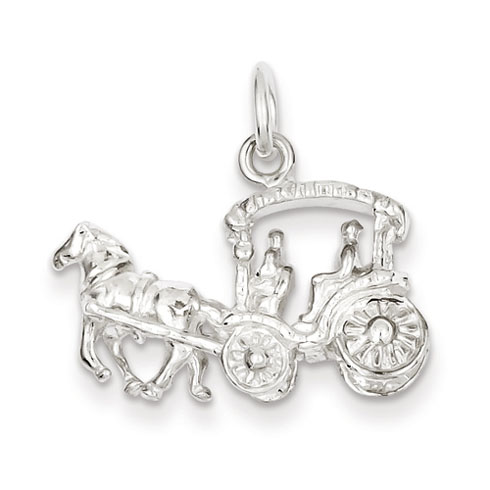 Horse & Carriage Charm - Sterling Silver