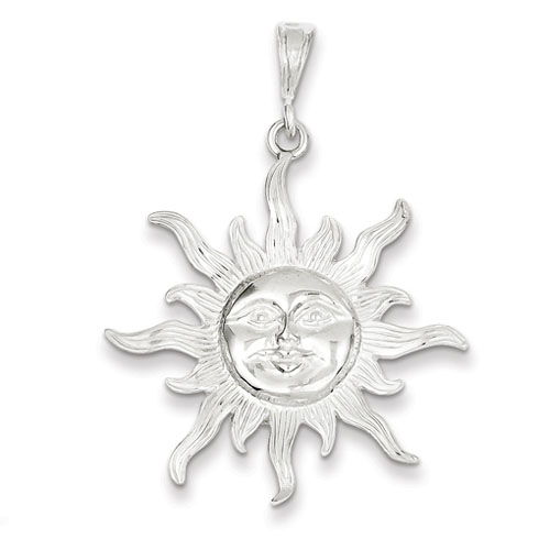 Sterling Silver Sun Pendant 1 1/4in