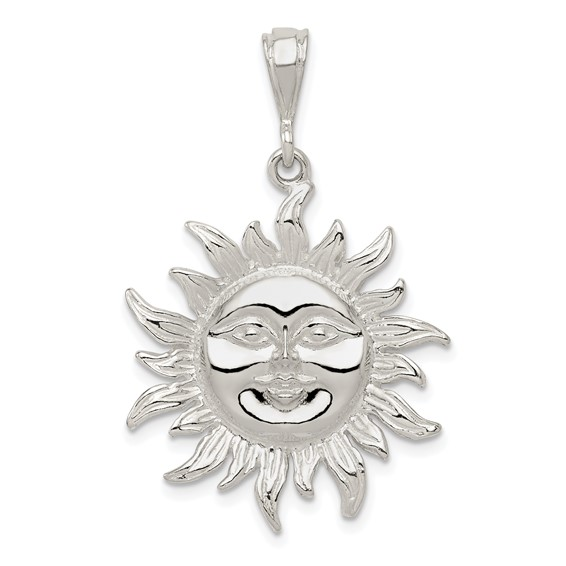 Sterling Silver Sun Pendant 1in