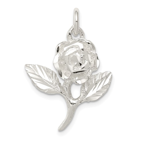 Sterling Silver Rose Pendant with Leaves
