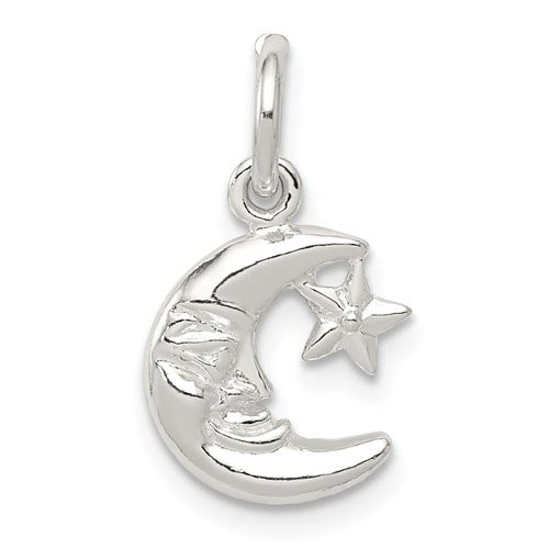 Sterling Silver 3/4in Moon & Star Charm