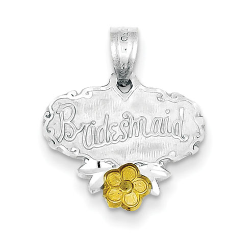 Sterling Silver Bridesmaid Charm with Gold-Plated Flower Accent