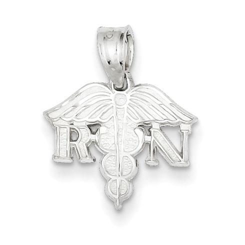 Sterling Silver 1/2in Diamond-cut Registered Nurse Charm