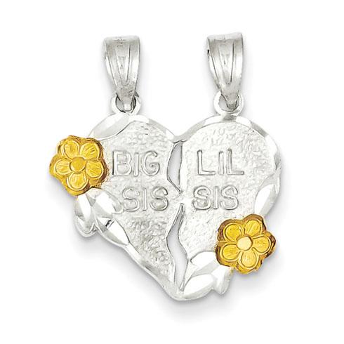 Sterling Silver Big Sis Lil Sis 2-piece break apart Heart Charm
