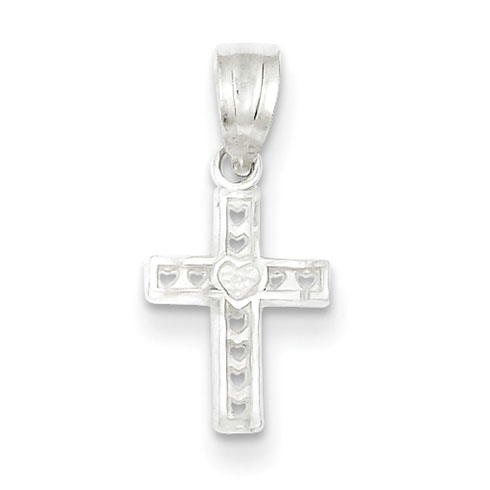 Sterling Silver 3/8in Cross Charm with Cut-out Hearts