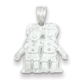 Sterling Silver Two Boys Charm