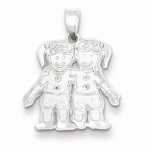 Sterling Silver 1/2in Two Girls Charm