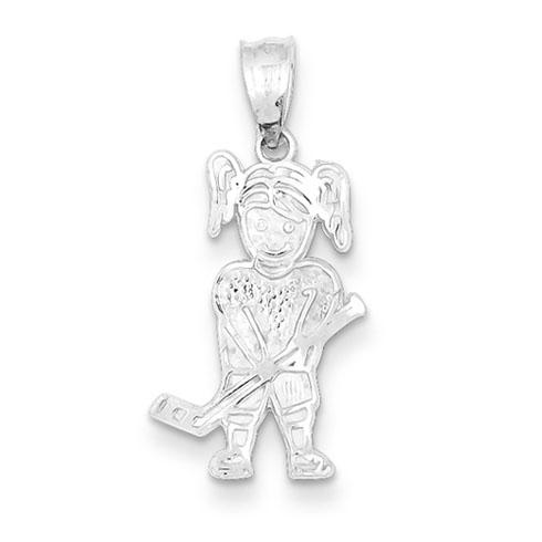 Sterling Silver Hockey Girl Charm