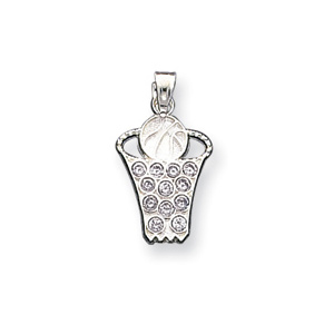 Sterling Silver CZ Basketball Net & Ball Charm