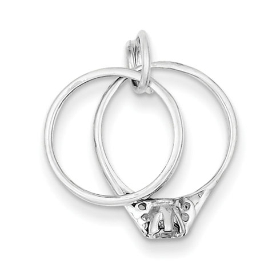 Sterling Silver Wedding Ring Set Charm