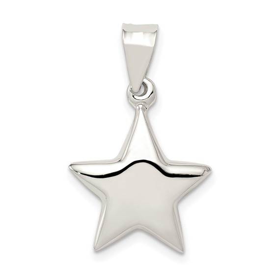 Sterling Silver 1/2in 3-D Star Charm