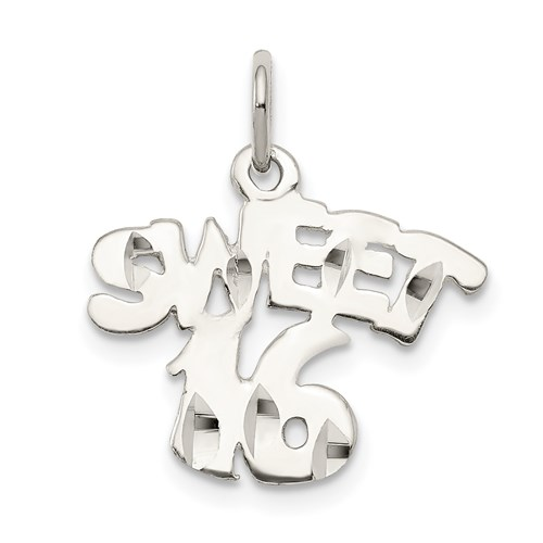 Sterling Silver 7/16in Sweet 16 Charm