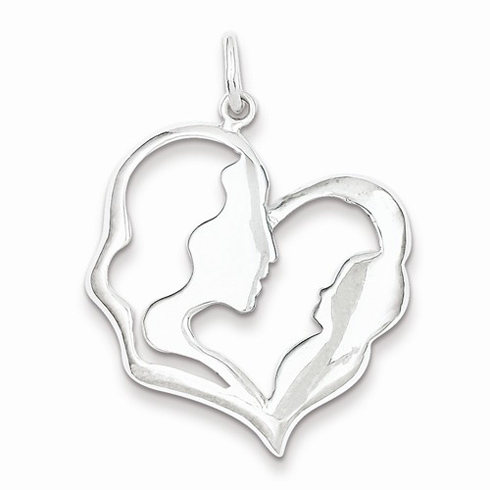 Sterling Silver 1 1/8in Mother and Baby Pendant
