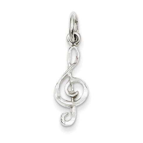 7/8in Treble Clef Charm - Sterling Silver