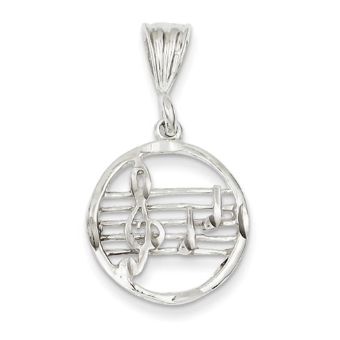 Sterling Silver 11/16in Music Staff Charm