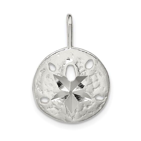 Sterling Silver 1/2in Diamond-cut Flat Back Sand Dollar Charm