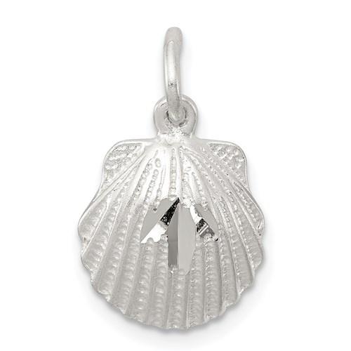 Sterling Silver 7/16in Diamond-cut Shell Charm