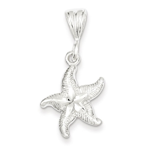 Sterling Silver 3/4in Diamond-cut Starfish Charm