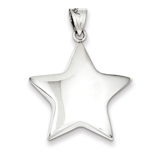 Sterling Silver 1in 3-D Hollow Star Pendant