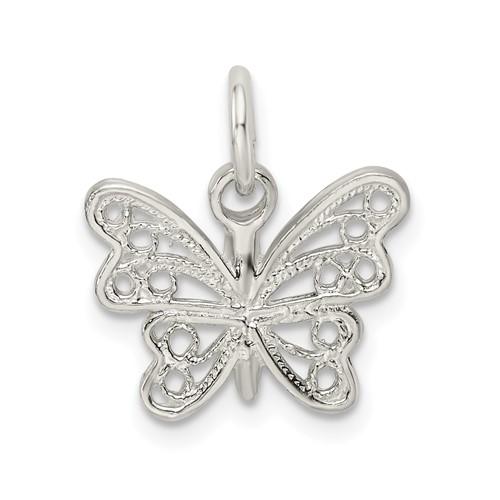 Sterling Silver 1/2in Diamond-cut Butterfly Charm