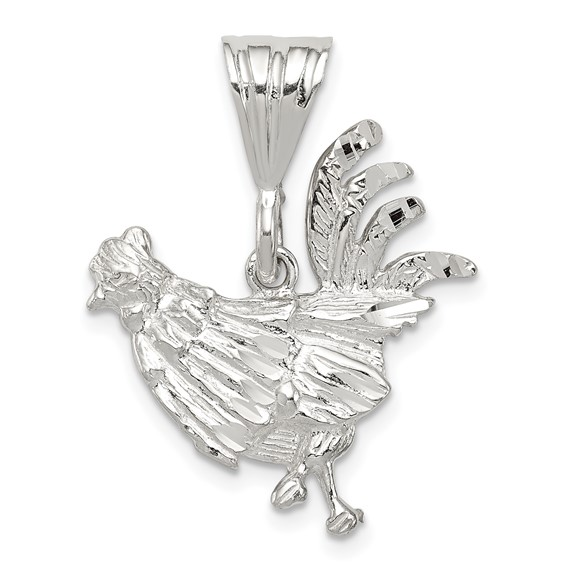 15/16in Rooster Charm - Sterling Silver