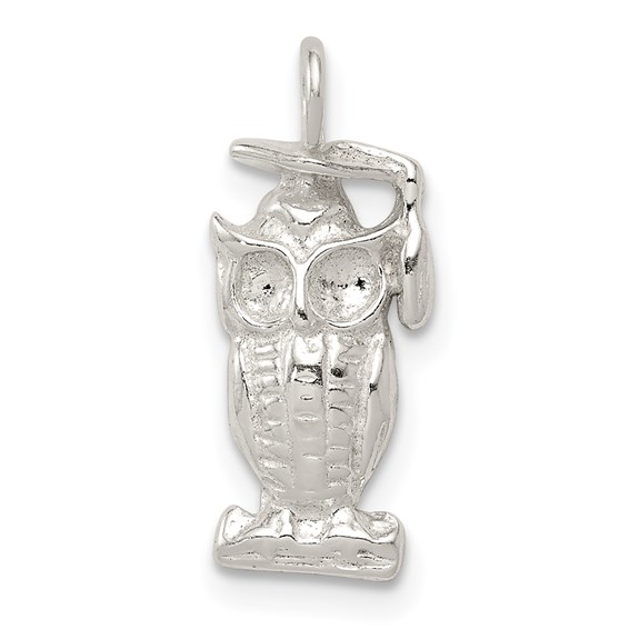 Sterling Silver Graduation Owl Charm