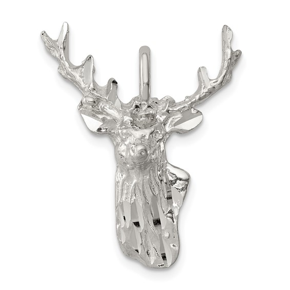 Sterling Silver 1in Deer Head Charm