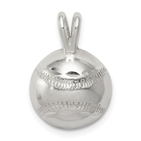 Sterling Silver Baseball Charm 3/8in