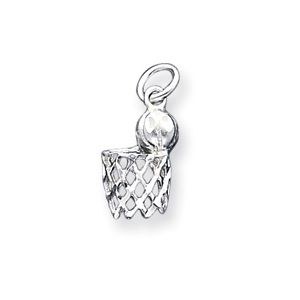 Sterling Silver 5/8in Basketball Hoop Charm