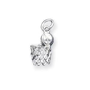 Sterling Silver 5/8in Basketball Hoop Charm
