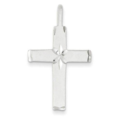 Sterling Silver 1in Latin Cross with Diamond-cut Accents