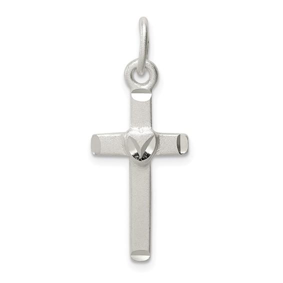 1in Satin Cross - Sterling Silver