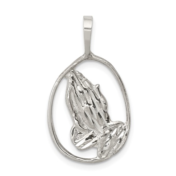 Sterling Silver 3/4in Oval Praying Hands Pendant