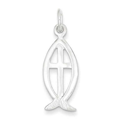 13/16in Ichthus with Cross Charm - Sterling Silver