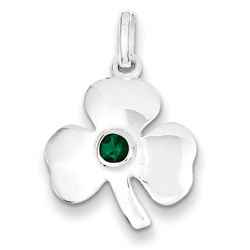 Sterling Silver Clover Charm with Green Glass Accent